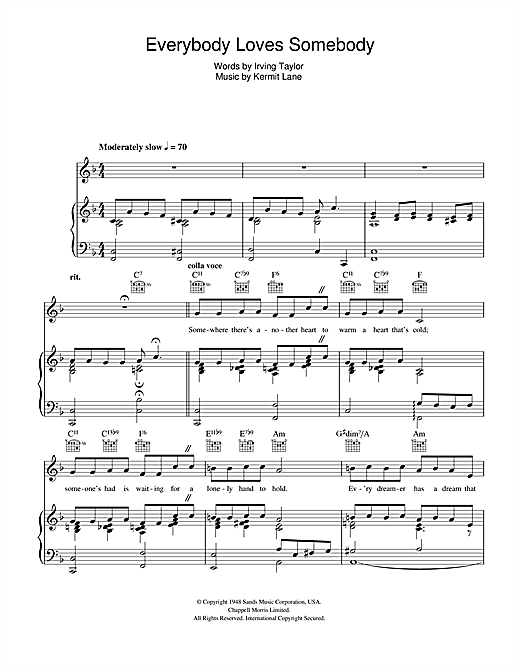 Frank Sinatra Everybody Loves Somebody sheet music notes and chords. Download Printable PDF.