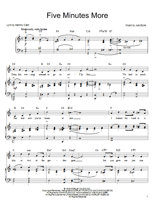 Frank Sinatra Five Minutes More sheet music notes and chords. Download Printable PDF.
