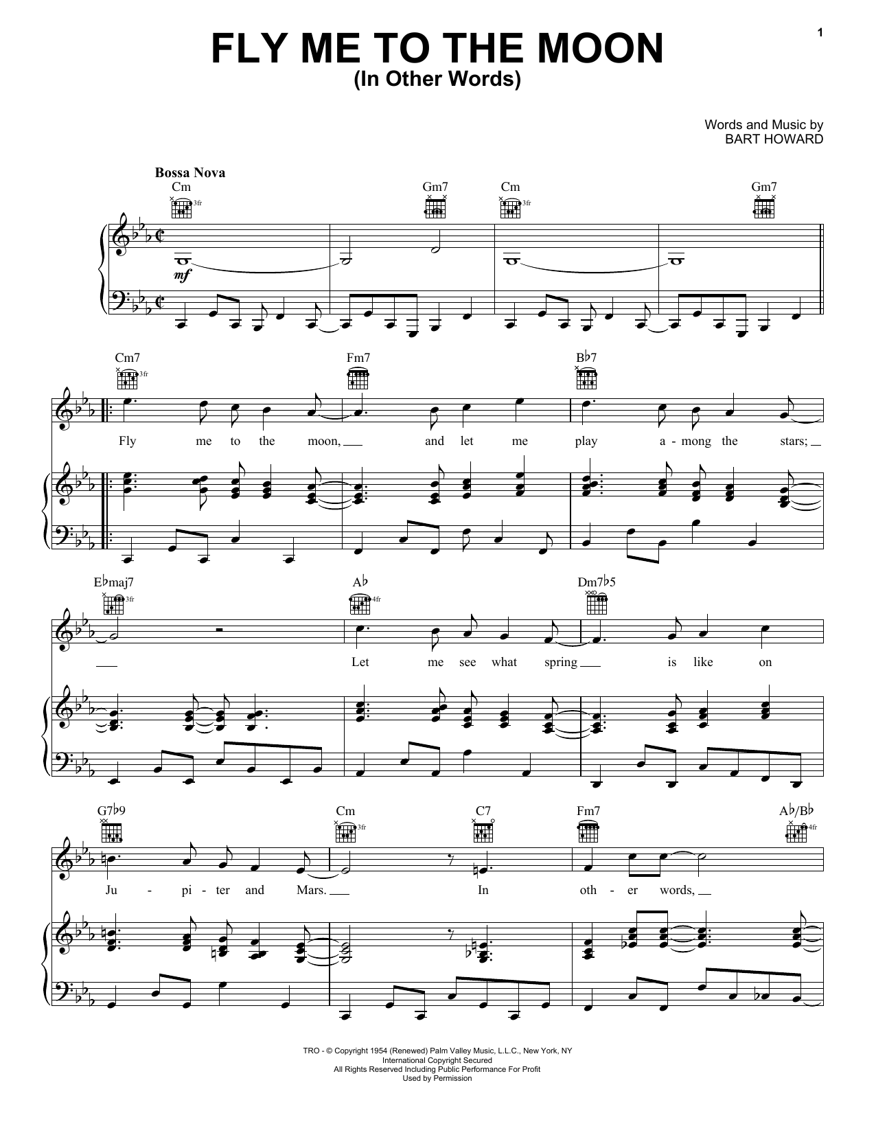 Frank Sinatra Fly Me To The Moon (In Other Words) sheet music notes and chords. Download Printable PDF.
