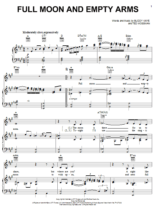 Frank Sinatra Full Moon And Empty Arms sheet music notes and chords. Download Printable PDF.