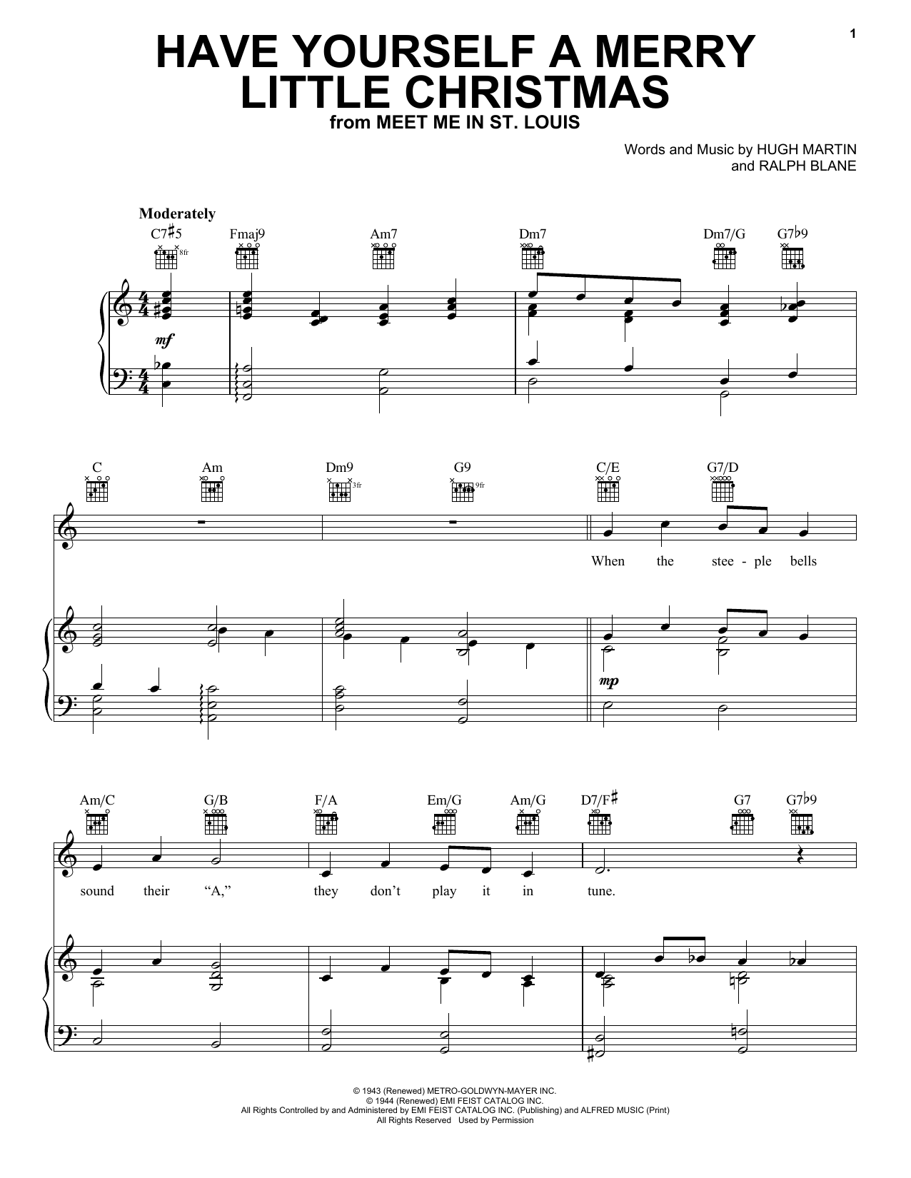 Frank Sinatra Have Yourself A Merry Little Christmas sheet music notes and chords. Download Printable PDF.