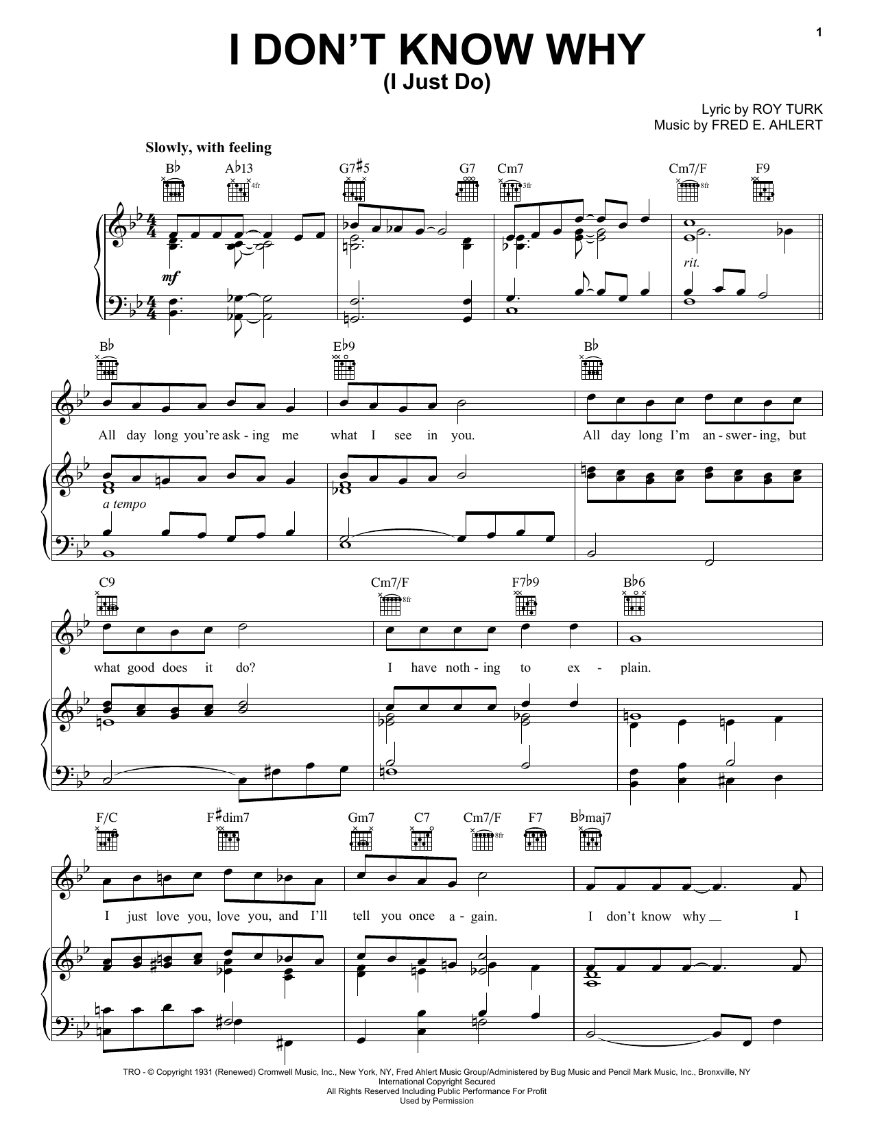 Frank Sinatra I Don't Know Why (I Just Do) sheet music notes and chords. Download Printable PDF.