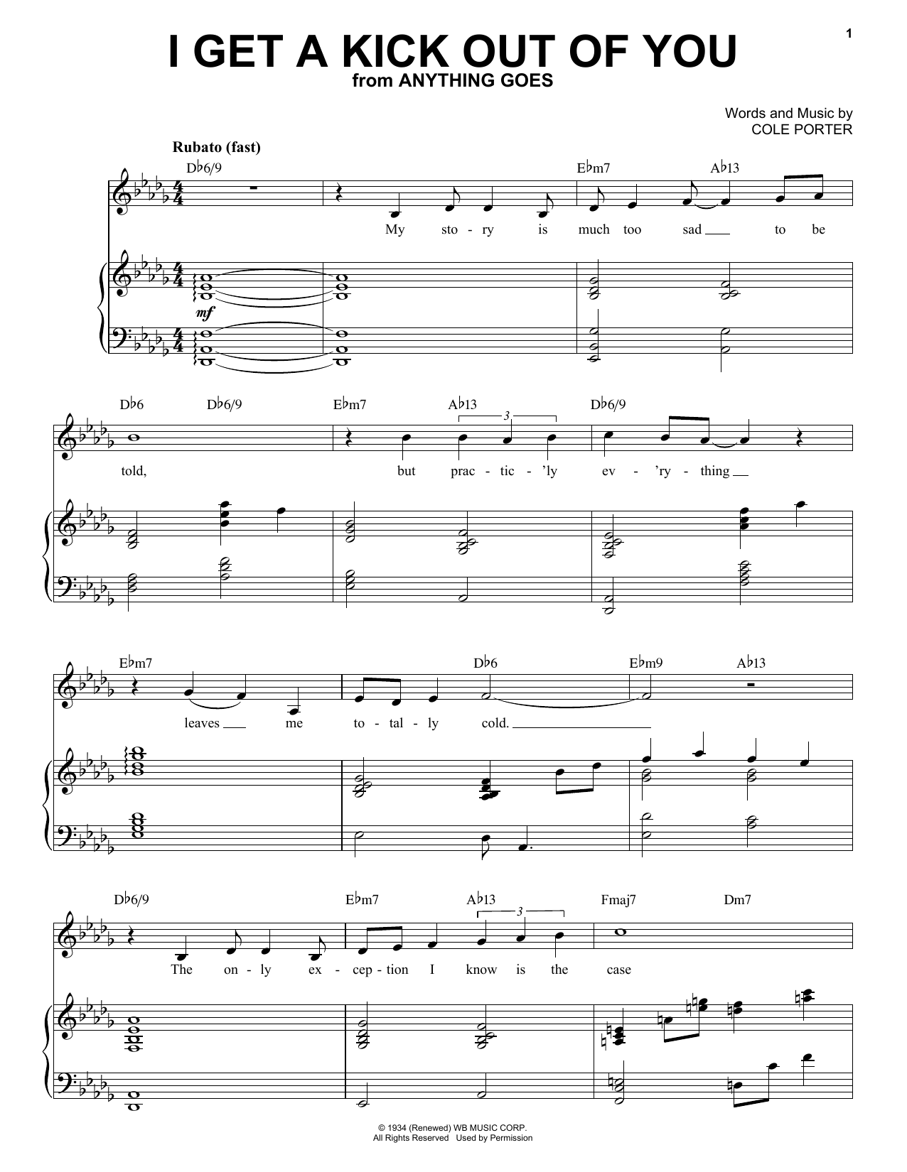 Frank Sinatra I Get A Kick Out Of You sheet music notes and chords