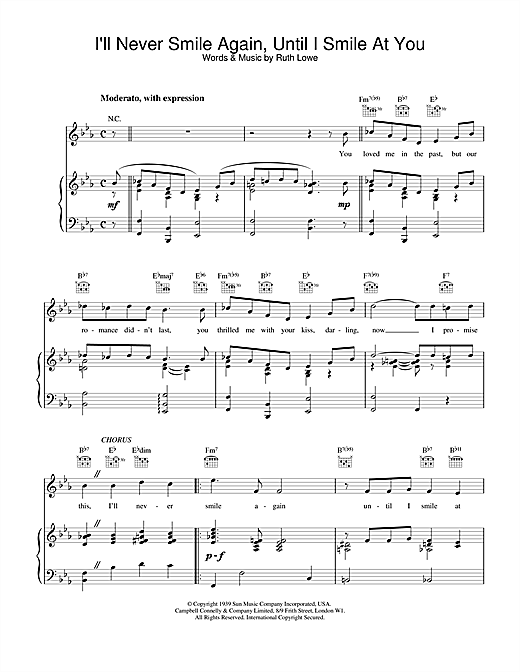 Frank Sinatra I'll Never Smile Again, Until I Smile At You sheet music notes and chords. Download Printable PDF.