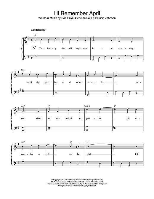 Frank Sinatra I'll Remember April sheet music notes and chords