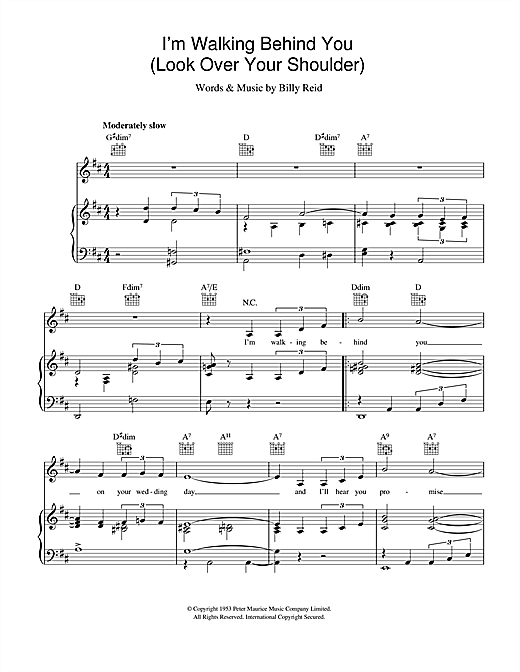 Frank Sinatra I'm Walking Behind You (Look Over Your Shoulder) sheet music notes and chords