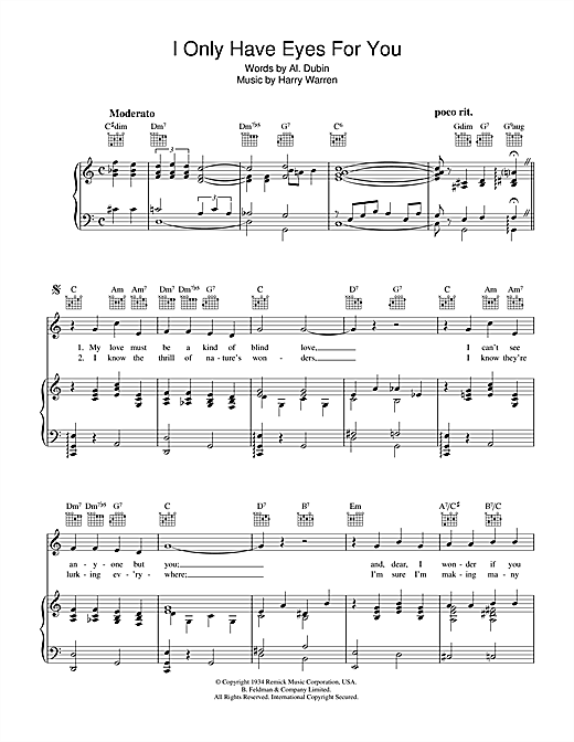 Frank Sinatra I Only Have Eyes For You sheet music notes and chords. Download Printable PDF.