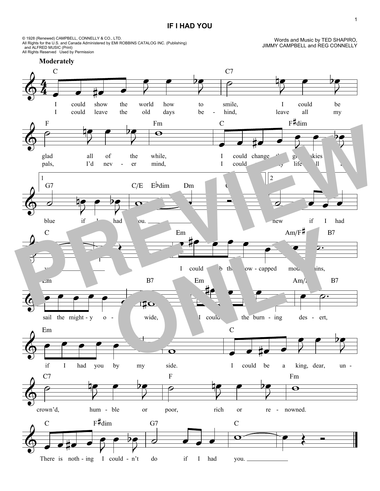Frank Sinatra If I Had You sheet music notes and chords. Download Printable PDF.