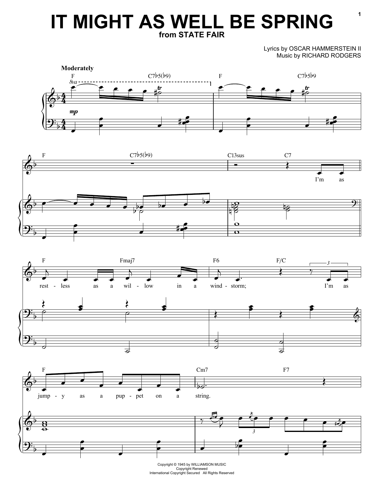 Frank Sinatra It Might As Well Be Spring sheet music notes and chords. Download Printable PDF.
