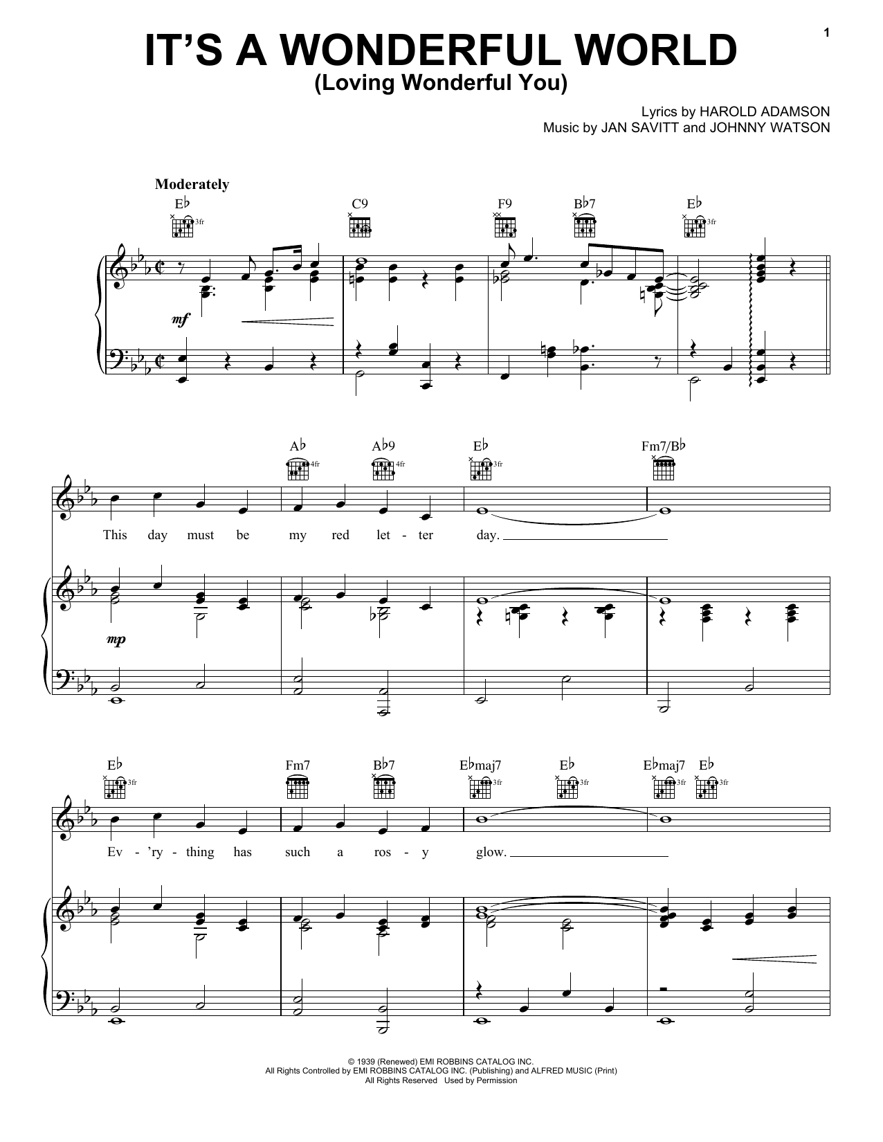 Frank Sinatra It's A Wonderful World (Loving Wonderful You) sheet music notes and chords. Download Printable PDF.