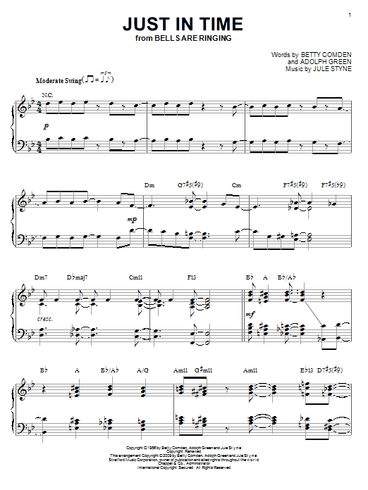 Frank Sinatra Just In Time (arr. Brent Edstrom) sheet music notes and chords. Download Printable PDF.