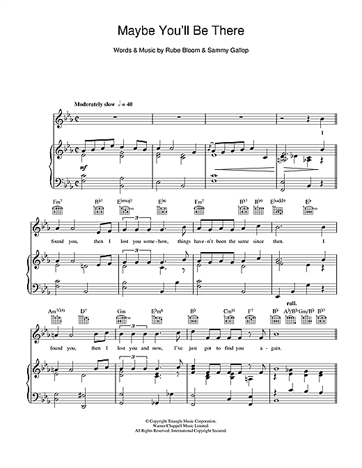 Frank Sinatra Maybe You'll Be There sheet music notes and chords
