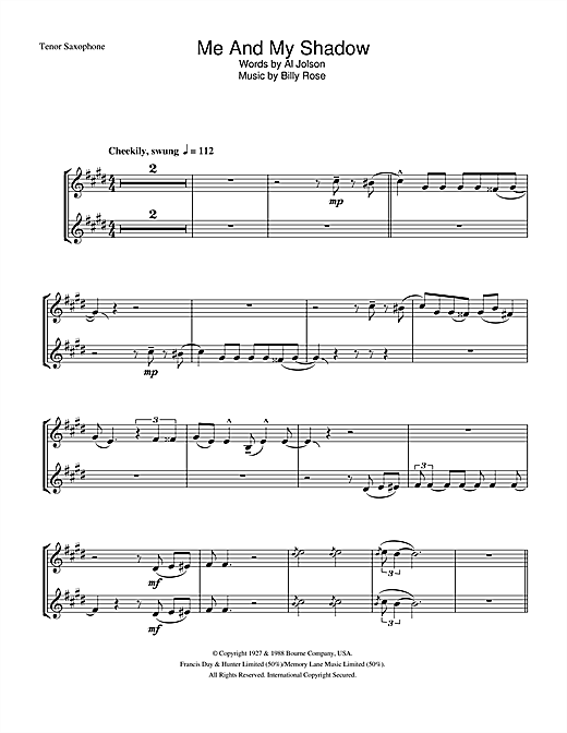 Frank Sinatra Me And My Shadow sheet music notes and chords