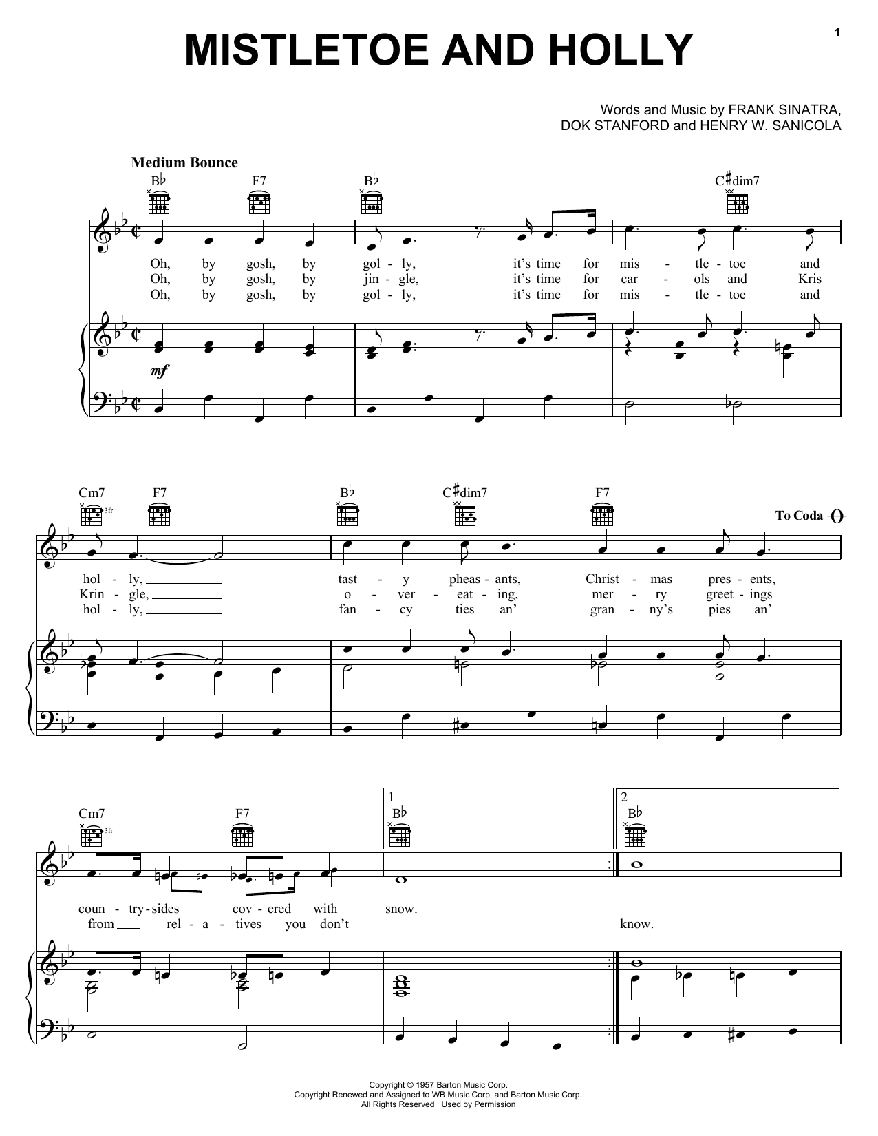 Frank Sinatra Mistletoe And Holly sheet music notes and chords