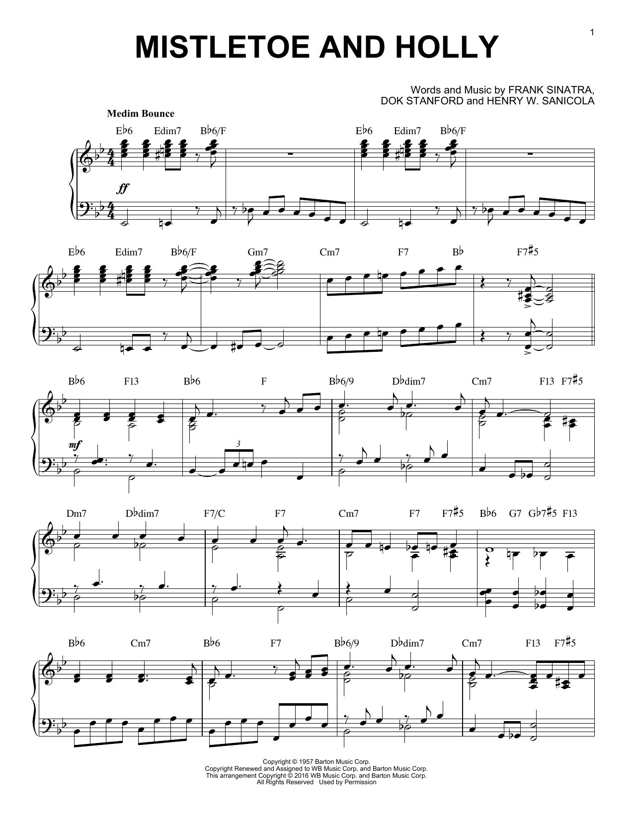 Frank Sinatra Mistletoe And Holly [Jazz version] (arr. Brent Edstrom) sheet music notes and chords. Download Printable PDF.