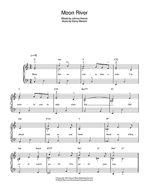 Frank Sinatra Moon River (from Breakfast At Tiffany's) sheet music notes and chords