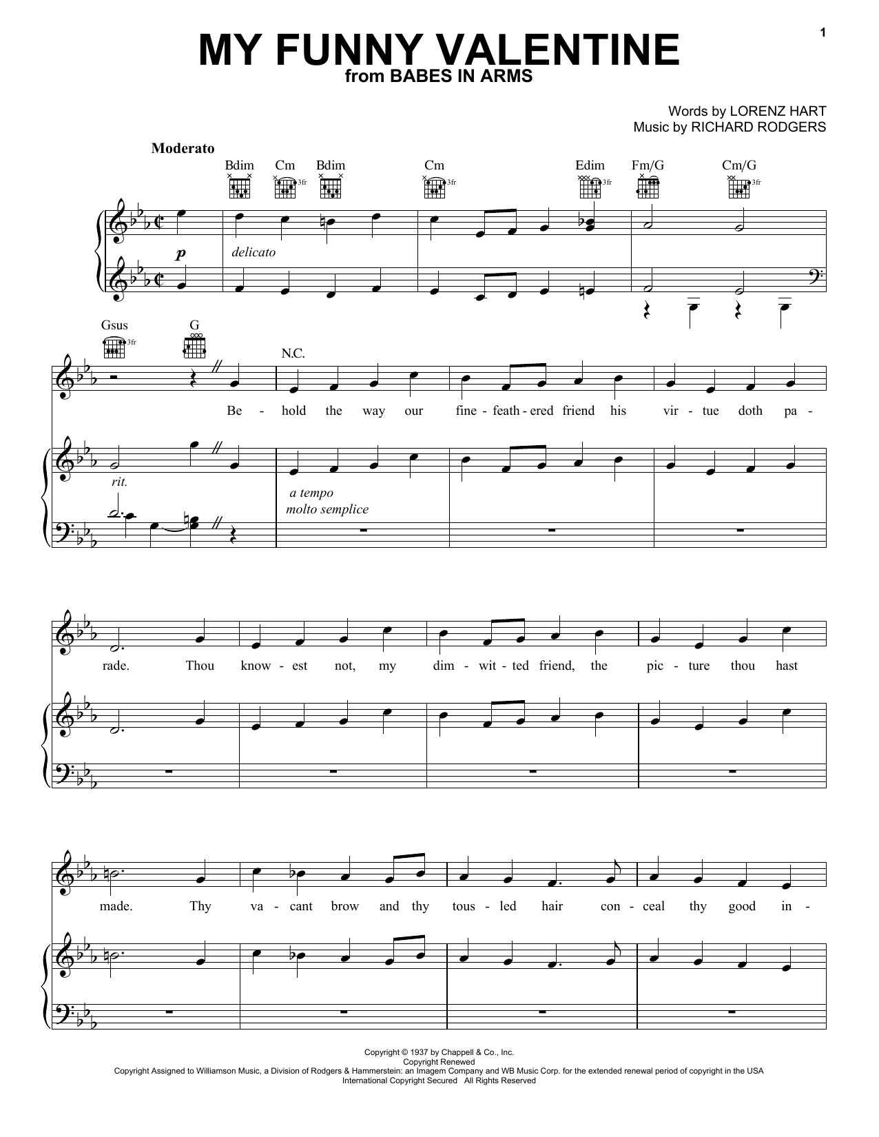 Frank Sinatra My Funny Valentine sheet music notes and chords. Download Printable PDF.
