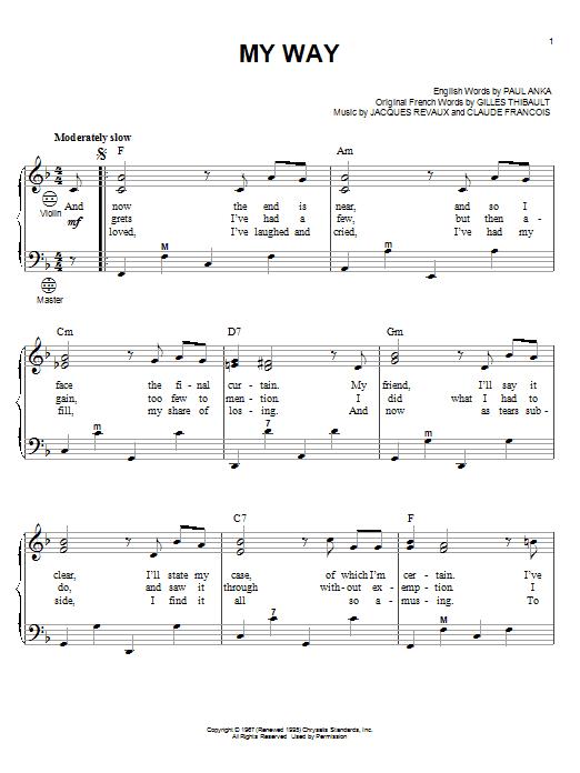 Frank Sinatra My Way sheet music notes and chords