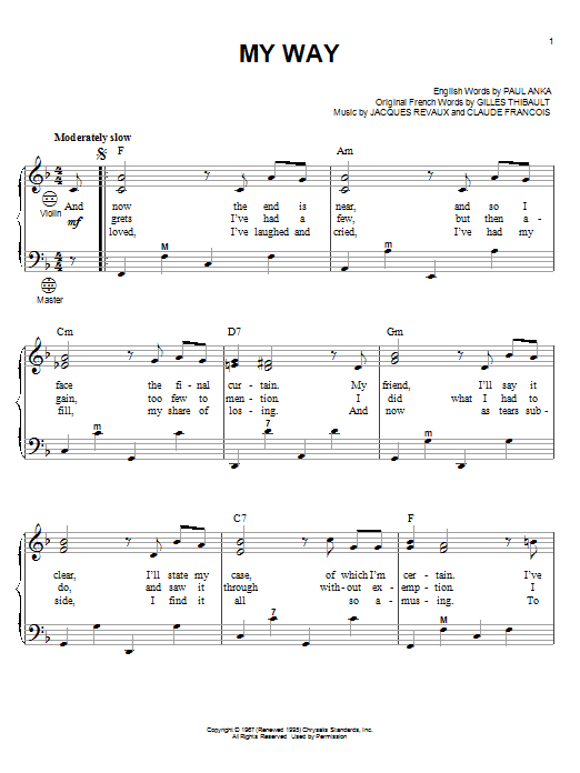 Frank Sinatra My Way sheet music notes and chords. Download Printable PDF.