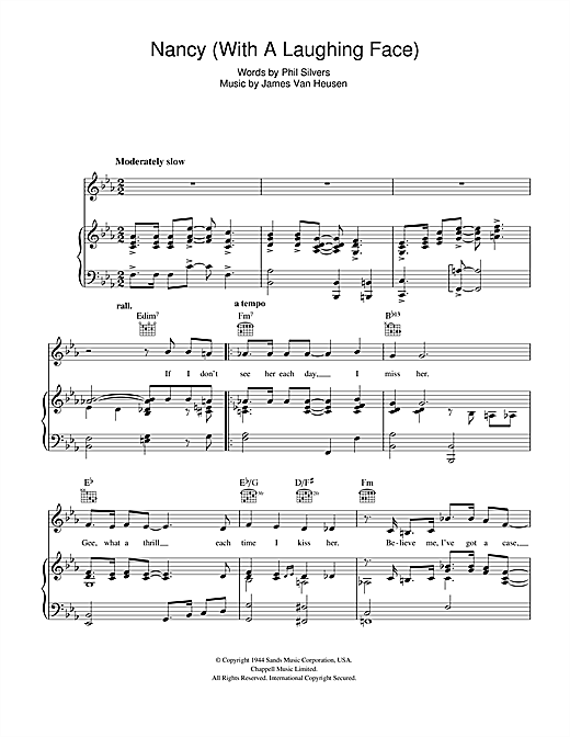 Frank Sinatra Nancy (With The Laughing Face) sheet music notes and chords. Download Printable PDF.