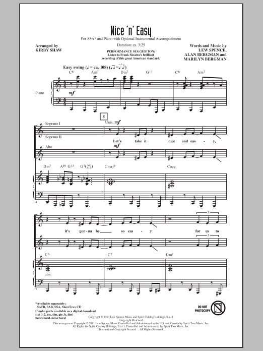 Frank Sinatra Nice 'n' Easy (arr. Kirby Shaw) sheet music notes and chords. Download Printable PDF.