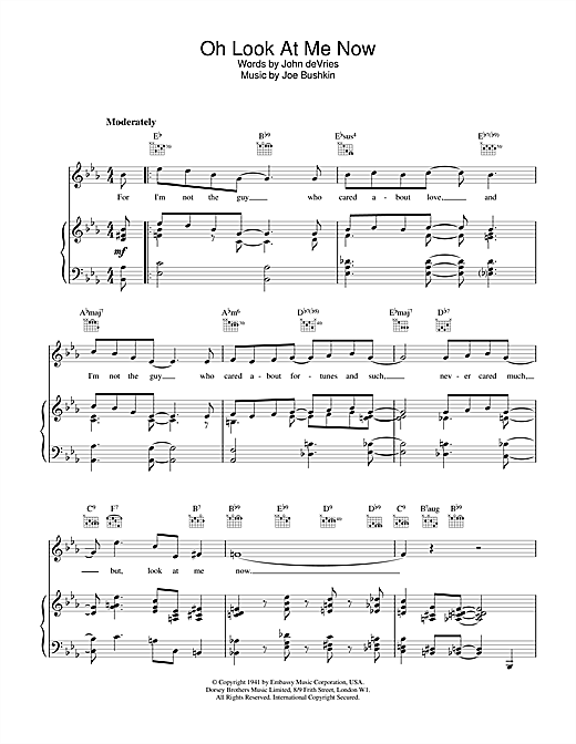 Frank Sinatra Oh Look At Me Now sheet music notes and chords