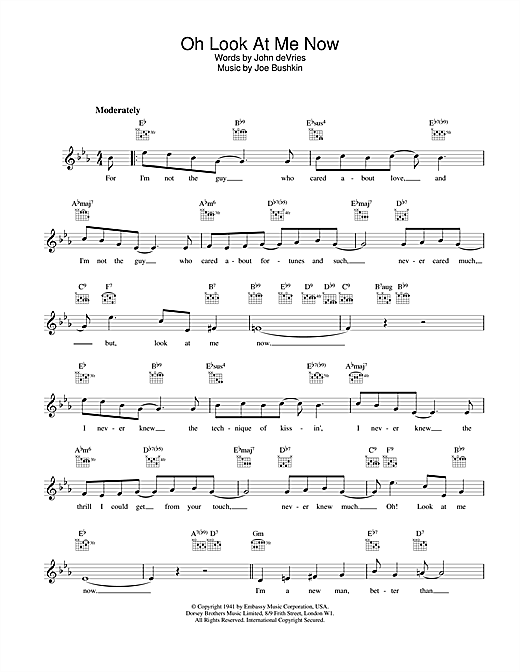 Frank Sinatra Oh Look At Me Now sheet music notes and chords. Download Printable PDF.
