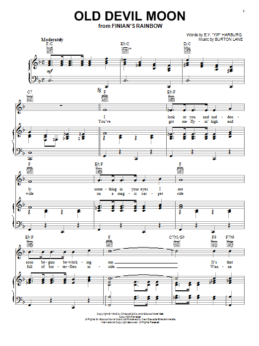 Frank Sinatra Old Devil Moon sheet music notes and chords. Download Printable PDF.