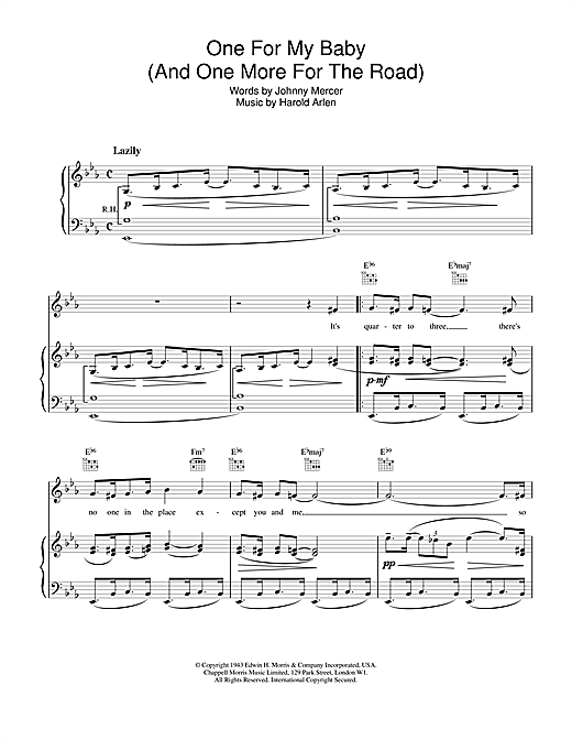 Frank Sinatra One For My Baby (And One More For The Road) sheet music notes and chords