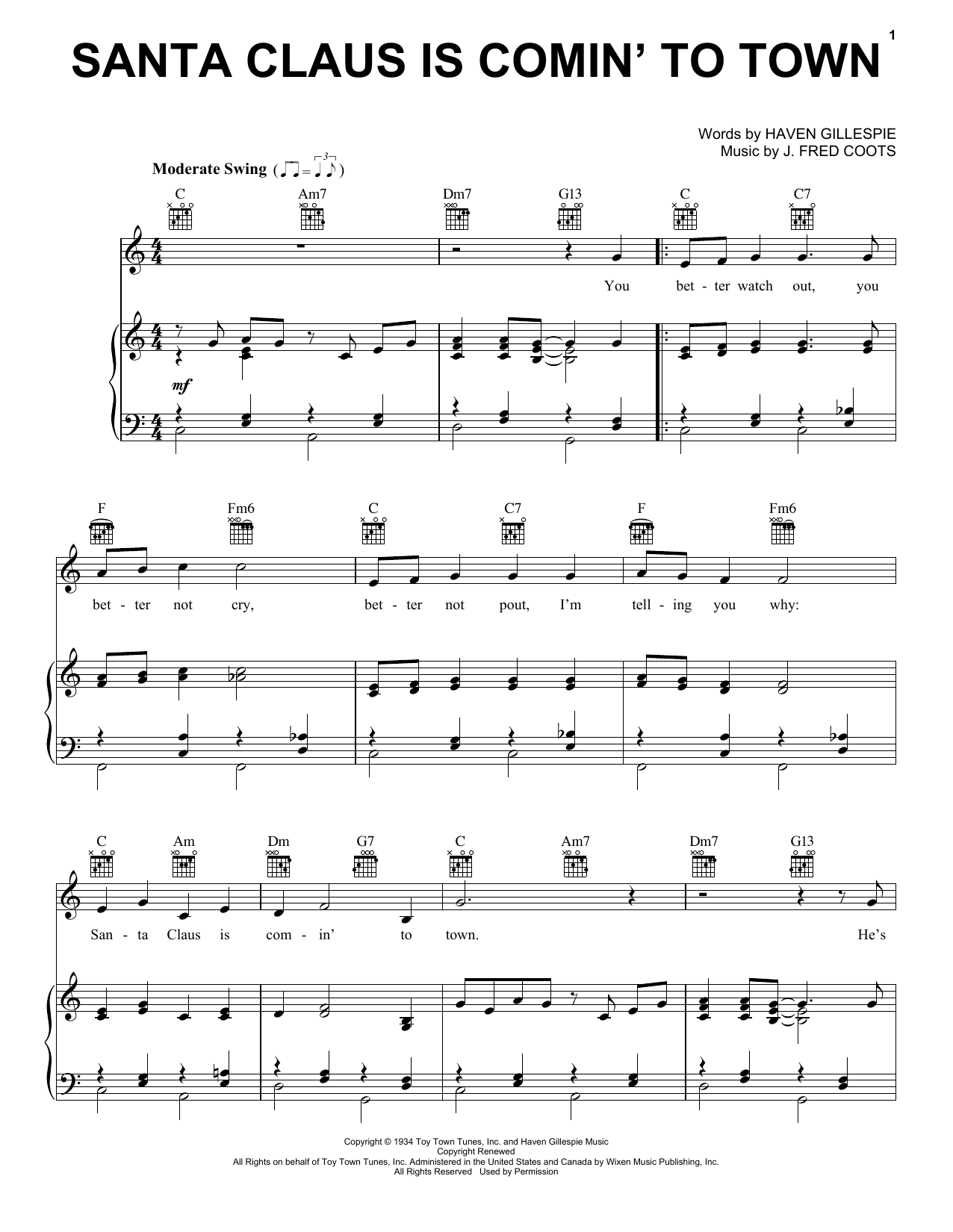 Frank Sinatra Santa Claus Is Comin' To Town sheet music notes and chords. Download Printable PDF.