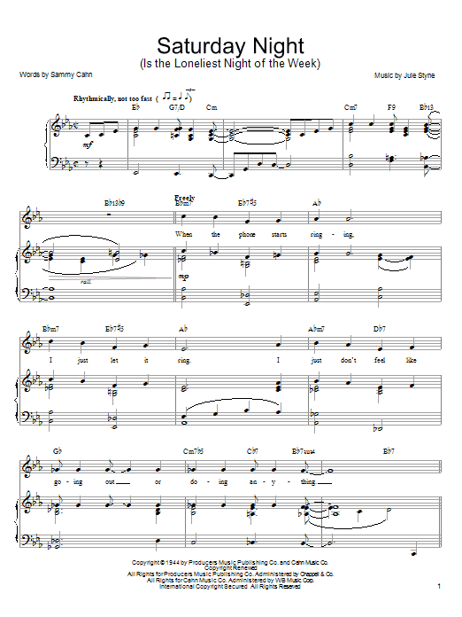 Frank Sinatra Saturday Night (Is The Loneliest Night Of The Week) sheet music notes and chords