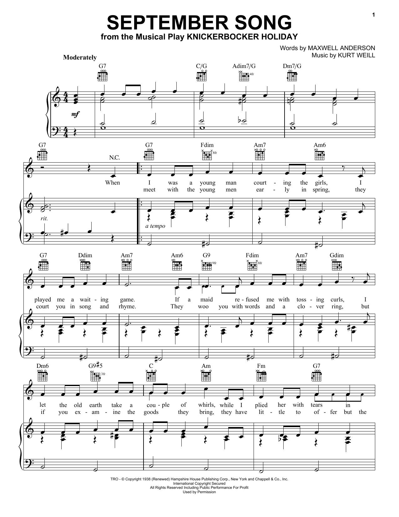 Frank Sinatra September Song sheet music notes and chords. Download Printable PDF.