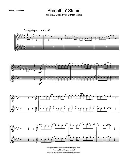 Frank Sinatra Somethin' Stupid sheet music notes and chords. Download Printable PDF.