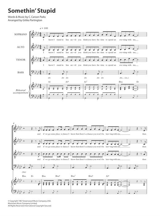 Frank Sinatra Somethin' Stupid (arr. Gitika Partington) sheet music notes and chords. Download Printable PDF.
