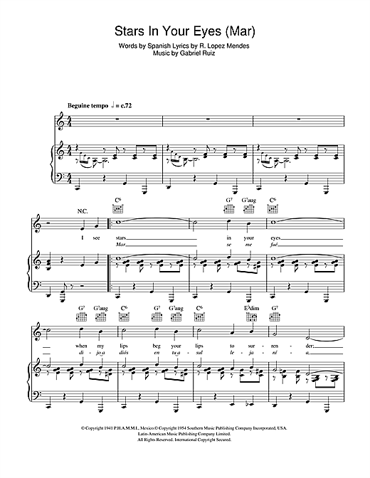 Frank Sinatra Stars In Your Eyes (Mar) sheet music notes and chords. Download Printable PDF.
