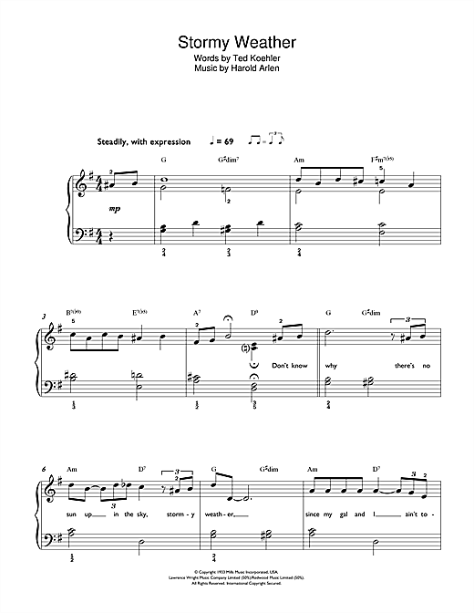 Frank Sinatra Stormy Weather sheet music notes and chords. Download Printable PDF.