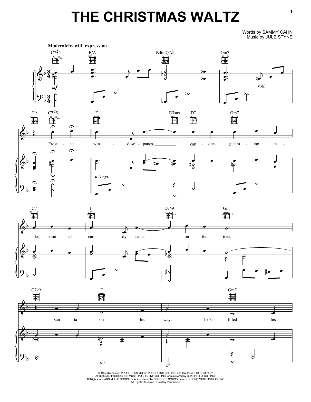 Frank Sinatra The Christmas Waltz sheet music notes and chords. Download Printable PDF.