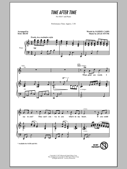 Frank Sinatra Time After Time (arr. Mac Huff) sheet music notes and chords. Download Printable PDF.