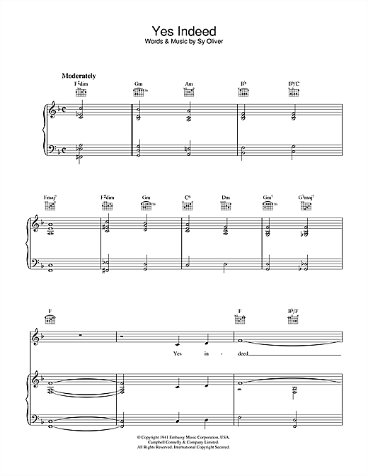 Frank Sinatra Yes Indeed (A Jive Spiritual) sheet music notes and chords. Download Printable PDF.