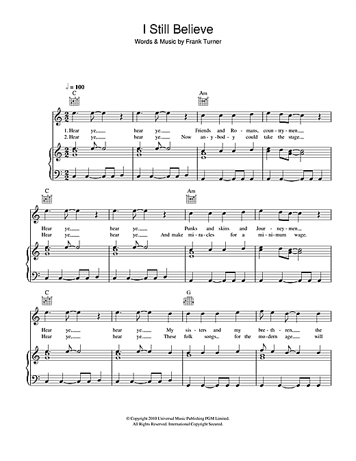 Frank Turner I Still Believe sheet music notes and chords. Download Printable PDF.