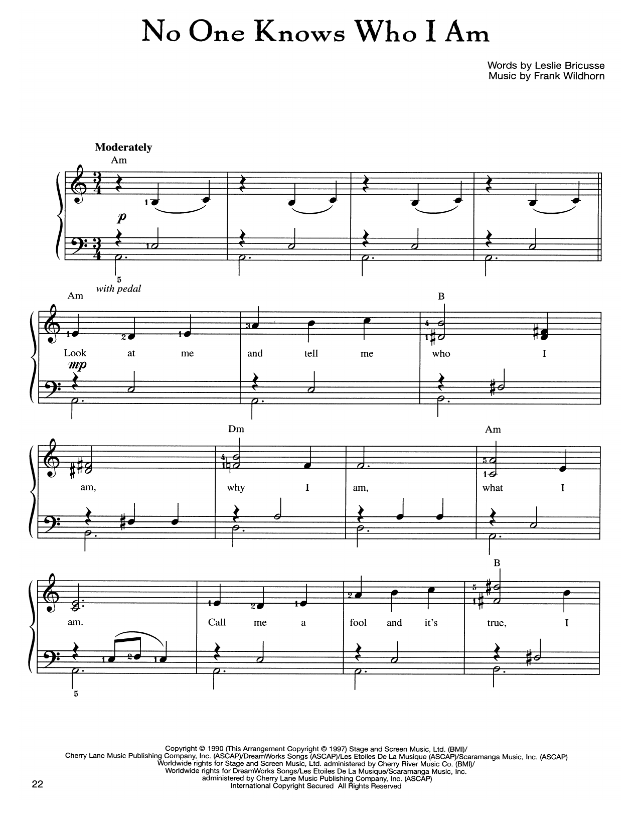 Frank Wildhorn No One Knows Who I Am sheet music notes and chords. Download Printable PDF.