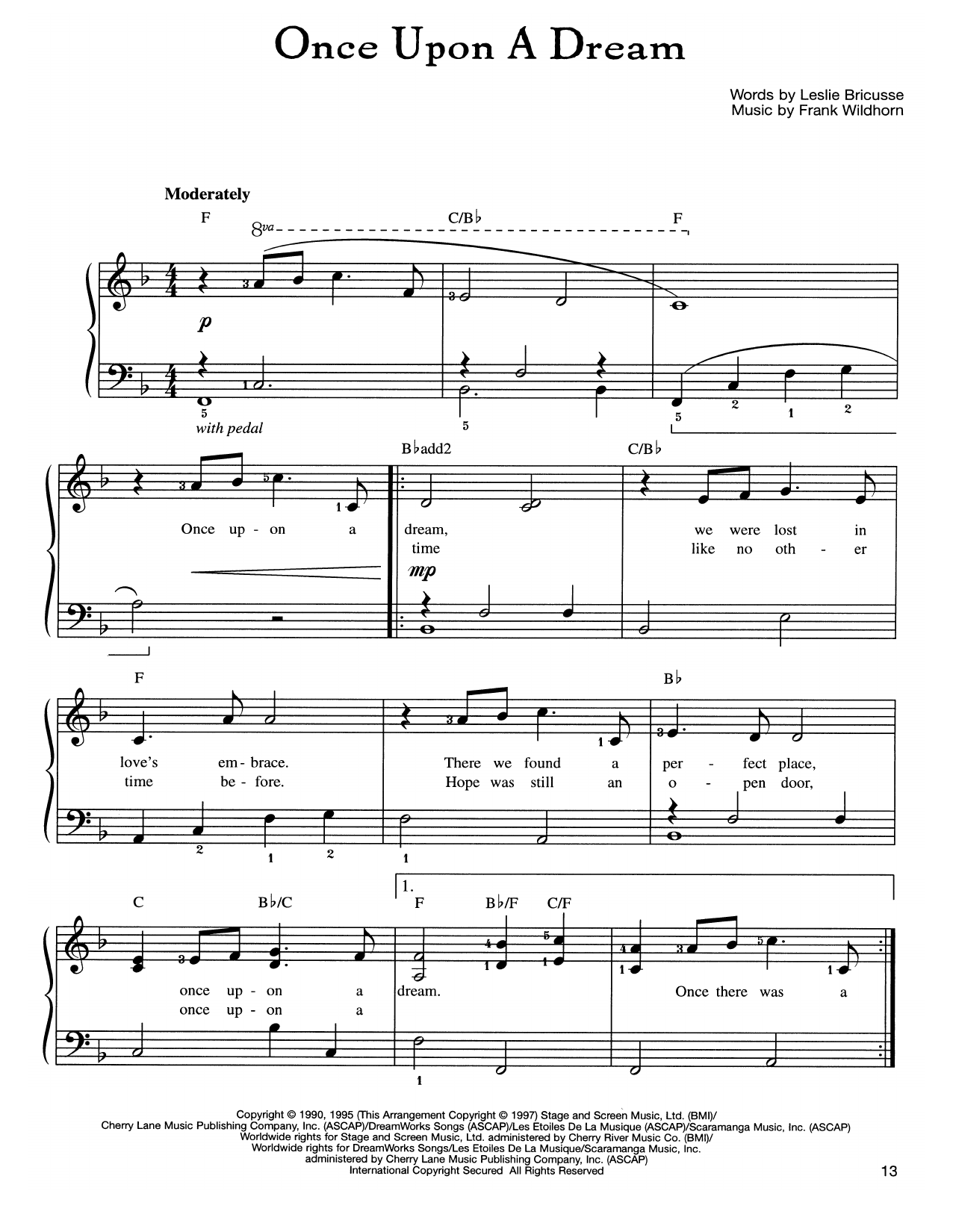 Frank Wildhorn Once Upon A Dream sheet music notes and chords. Download Printable PDF.
