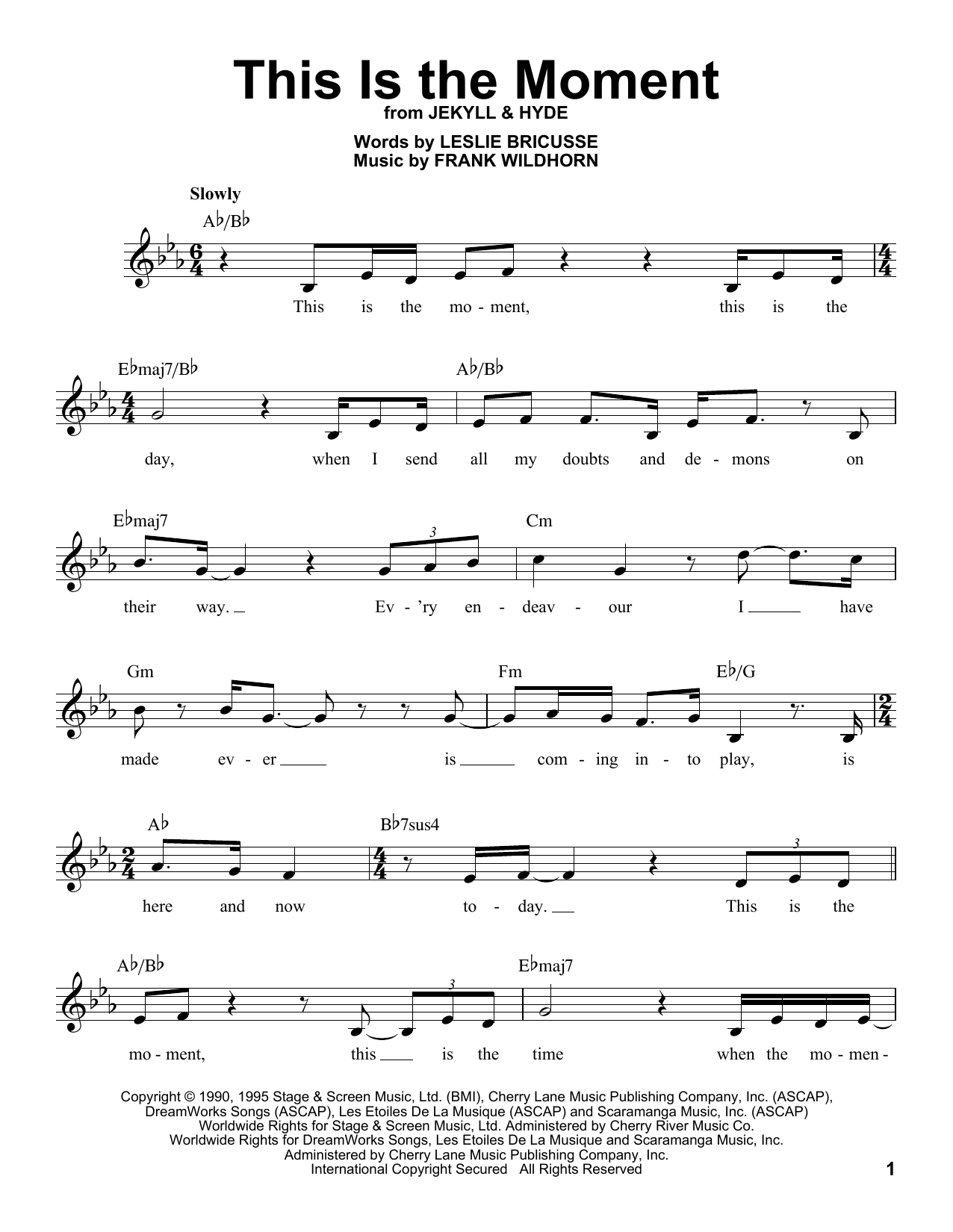 Frank Wildhorn This Is The Moment sheet music notes and chords. Download Printable PDF.