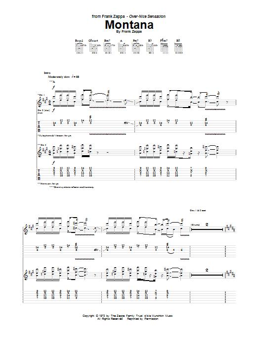 Frank Zappa Montana sheet music notes and chords. Download Printable PDF.