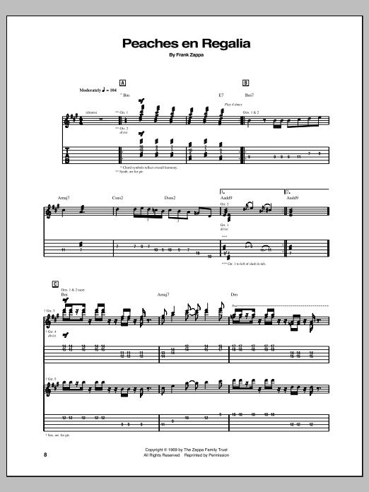 Frank Zappa Peaches En Regalia sheet music notes and chords