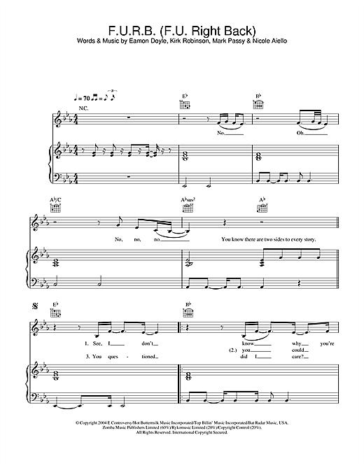 Frankee F.U.R.B. (F.U. Right Back) sheet music notes and chords. Download Printable PDF.