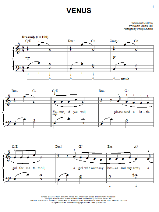 Frankie Avalon Venus (arr. Phillip Keveren) sheet music notes and chords