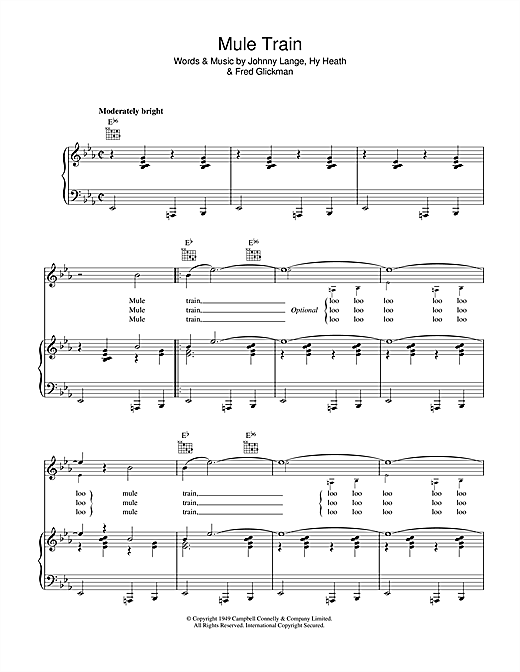 Frankie Laine Mule Train Sheet Music Pdf Notes Chords Standards Score Piano Vocal Guitar Right Hand Melody Download Printable Sku 40248