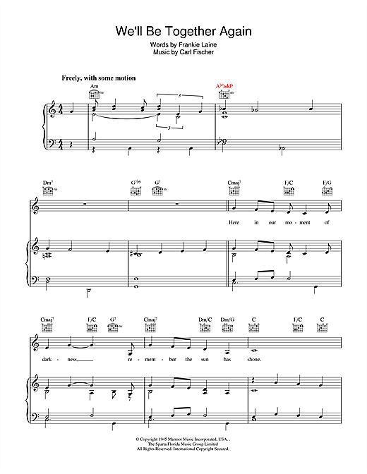 Frankie Laine We'll Be Together Again sheet music notes and chords. Download Printable PDF.