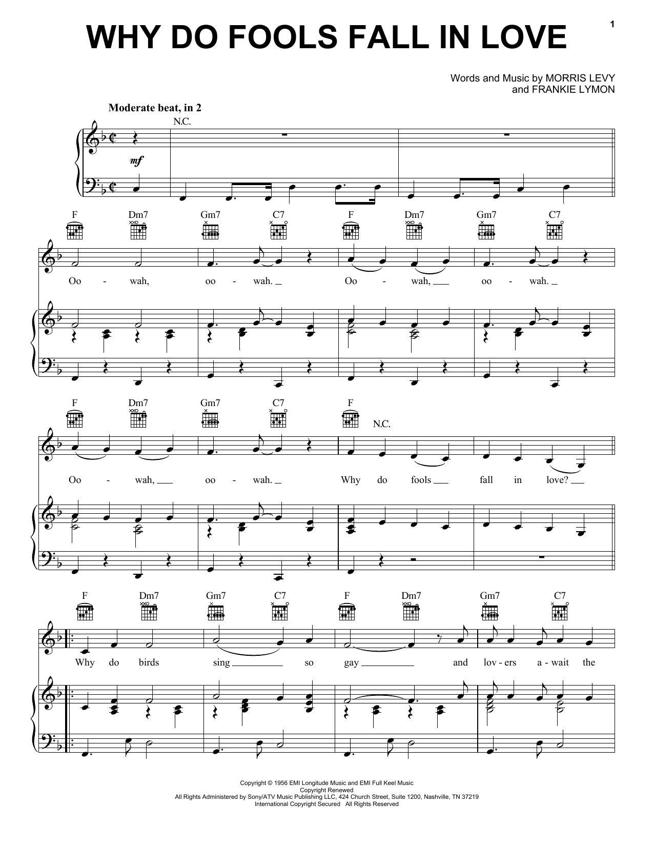 Frankie Lymon & The Teenagers Why Do Fools Fall In Love sheet music notes and chords